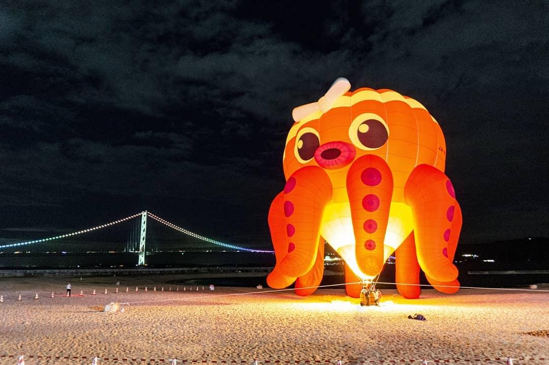 """先日 #大蔵海岸 で催された""""たこバルーン""""です。#明石海峡大橋 のイルミネーションがレインボーです。"""